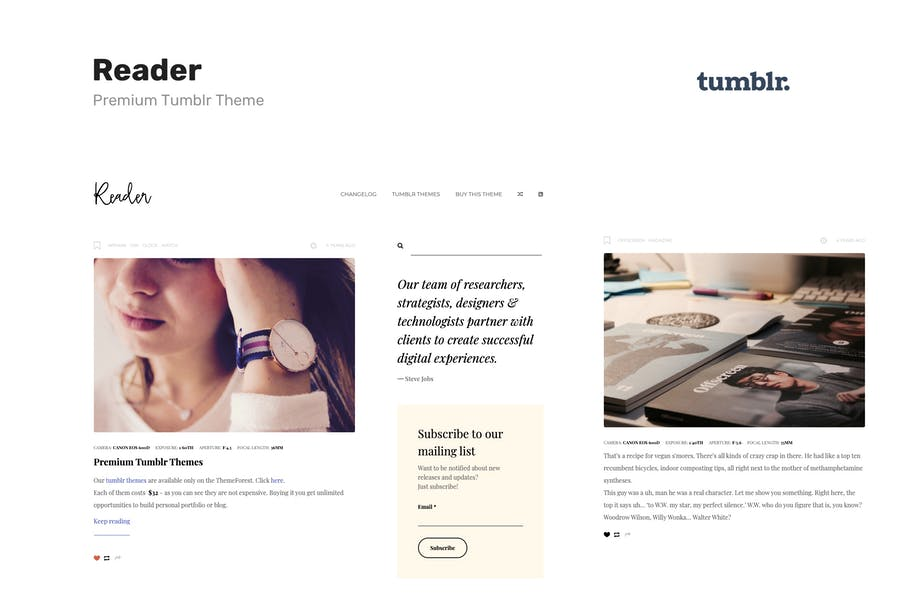 Reader | Responsive Blogging Tumblr Theme