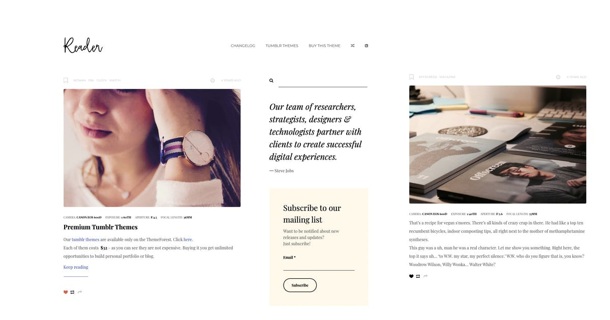 Download Reader | Responsive Blogging Tumblr Theme by roseathemes