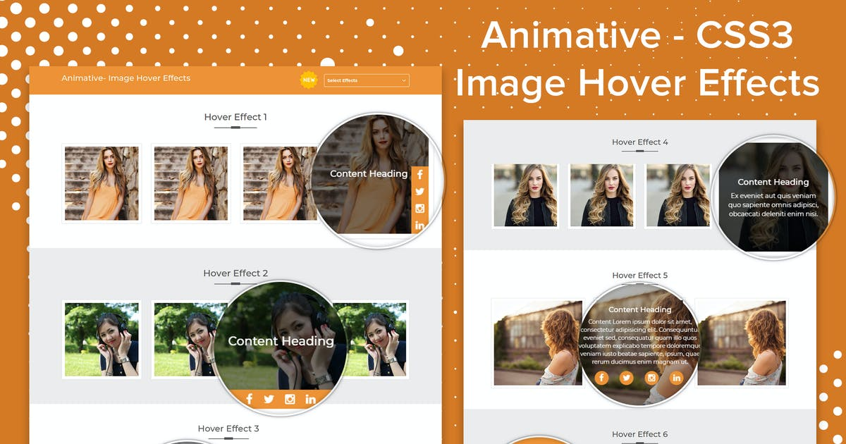 Animative - CSS3 Image Hover Effects by makewebbetter on