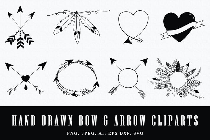 Thumbnail for Handmade Bow & Arrow Cliparts