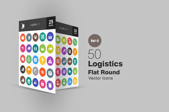 Thumbnail for 50 Logistics Flat Round Icons
