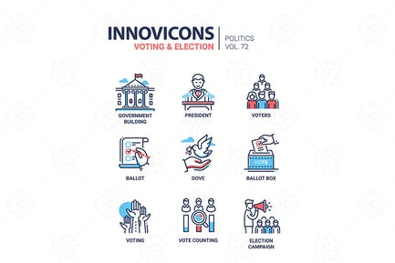 Voting and election - set of modern icons