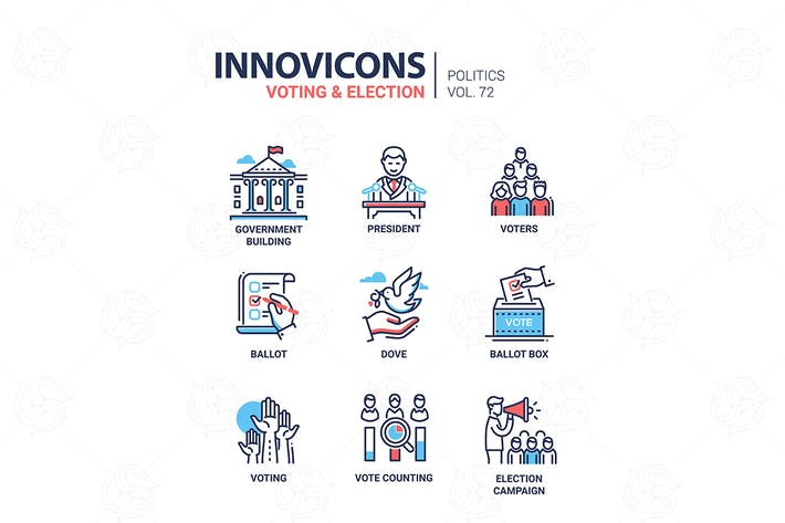 Thumbnail for Votación y elección - Kit de Íconos Moderno