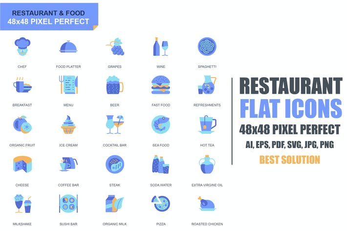 Cover Image For Simple Set Restaurant and Food Flat Icons