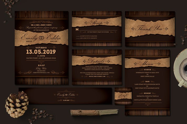 Cover Image For Rustic Wedding Invitation