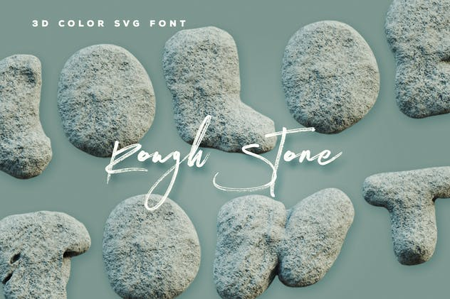 Rough Stone - 3D Color SVG Font