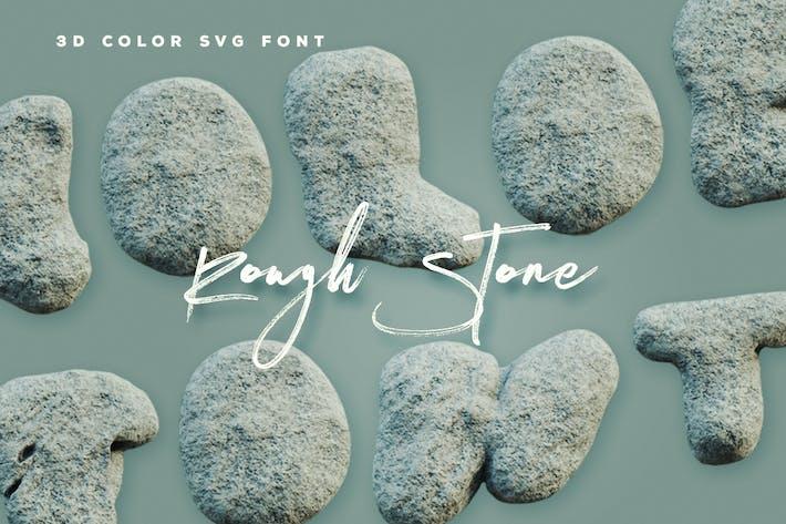 Thumbnail for Rough Stone - 3D Color SVG Font