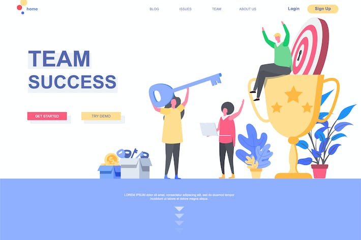 Thumbnail for Team Success Landing Page Template