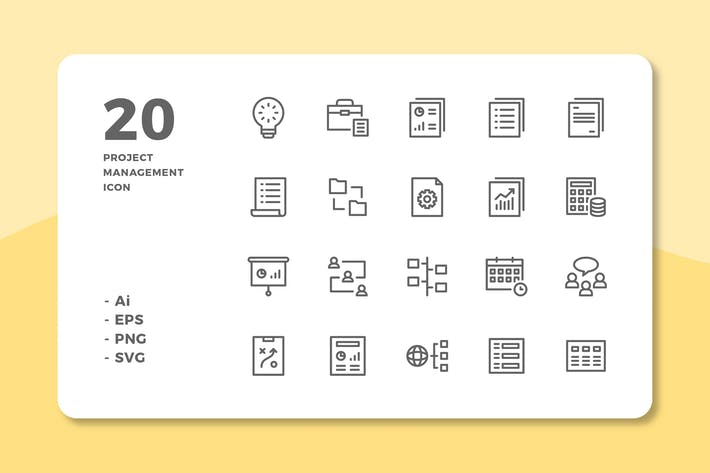 Thumbnail for 20 Project Management Icons (Line)