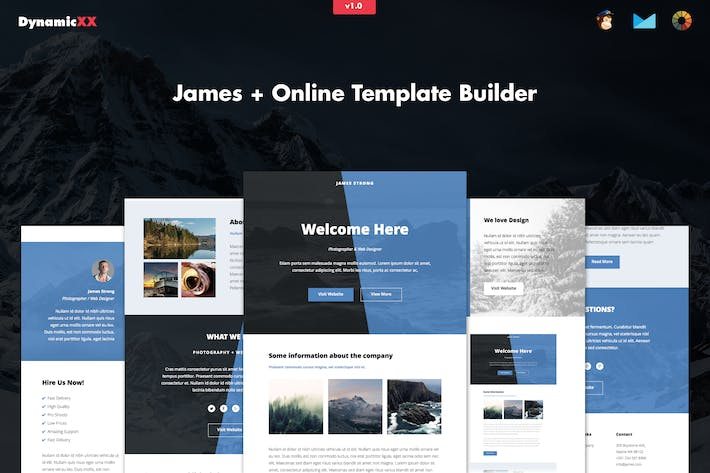 Thumbnail for James - Responsive Email + Online Template Builder