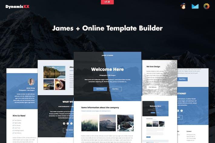 Thumbnail for James - Responsive Email + Online Modèle Builder