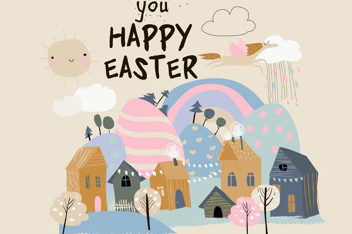 Thumbnail for Vector card with little town celebrating Easter