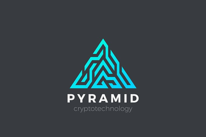 Logo Pyramid Triangle Technology Blockchain sign