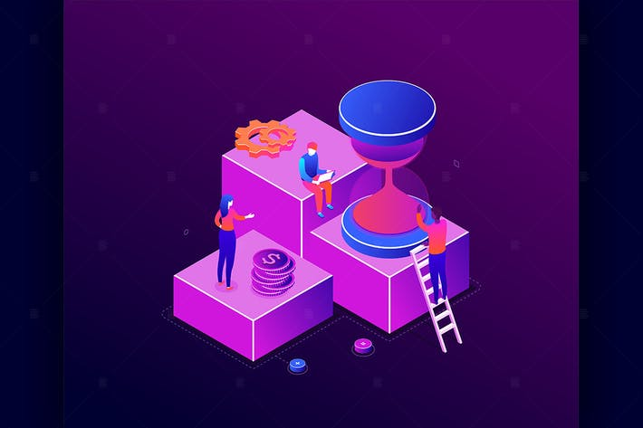 Thumbnail for Time management - colorful isometric illustration