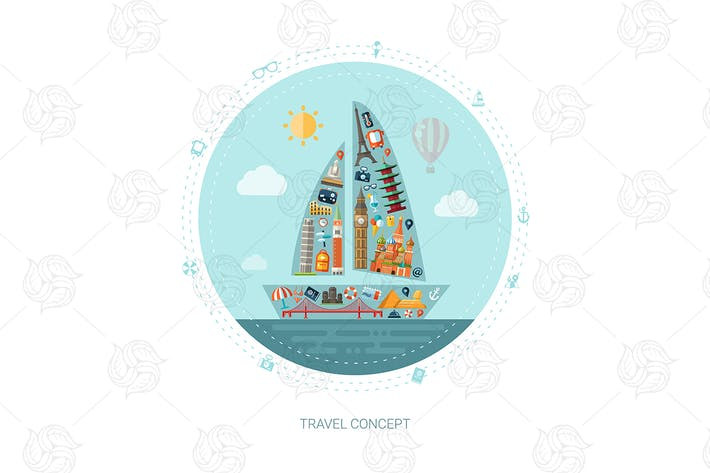 Thumbnail for Travelling - flat design style illustration