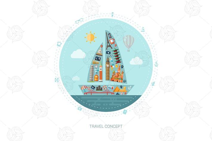 Thumbnail for Viajar - ilustración de estilo de Diseño plano
