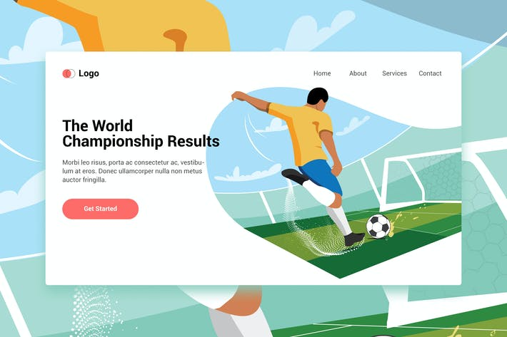Thumbnail for Playing Football web template for Landing page