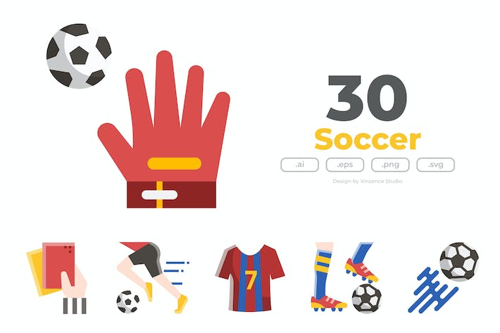 30 Fußball-Icons - FLAT
