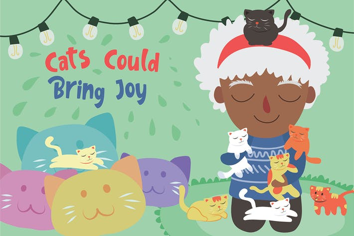 Thumbnail for Cats Bring Joy - Vector Illustration