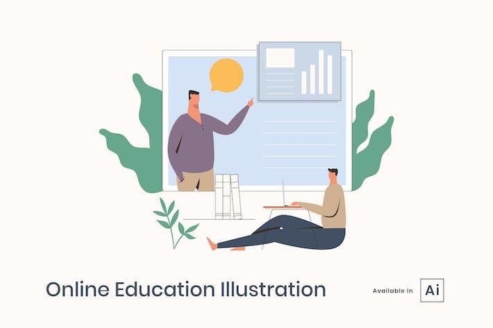 Ilustración de la educación en línea