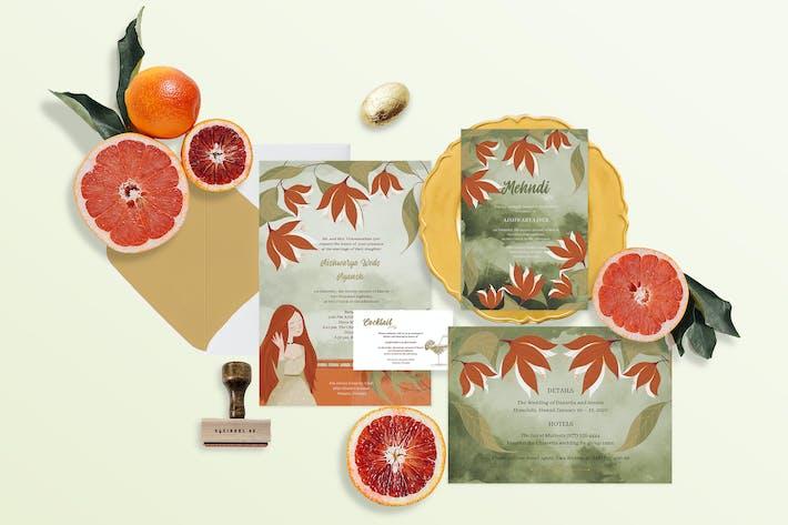 Thumbnail for Autumn Palette Indian Wedding Invitation Set of 4