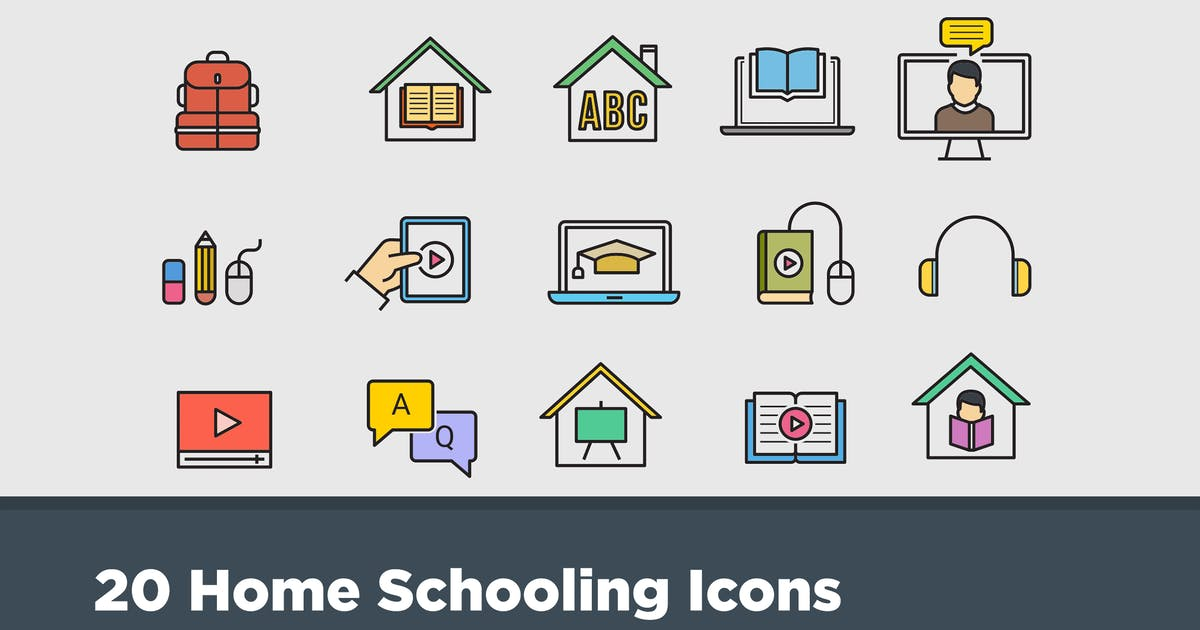 Download 20 Home Schooling Icons by creativevip