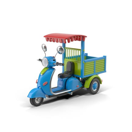 Cartoon Motorisiertes Dreirad Blau