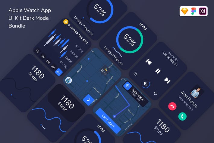 Thumbnail for Apple Watch App UI Kit Dark Mode Bundle