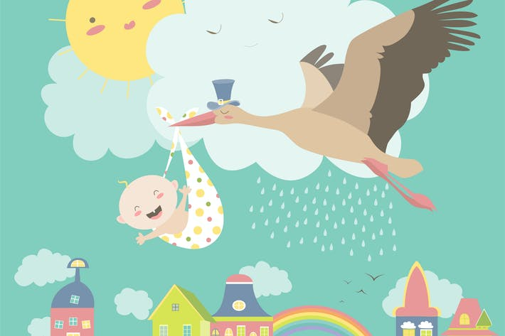 Thumbnail for Stork is flying in the sky with baby