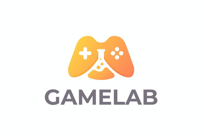 Thumbnail for Gaming Joystick and Lab Flask Negative Space Logo