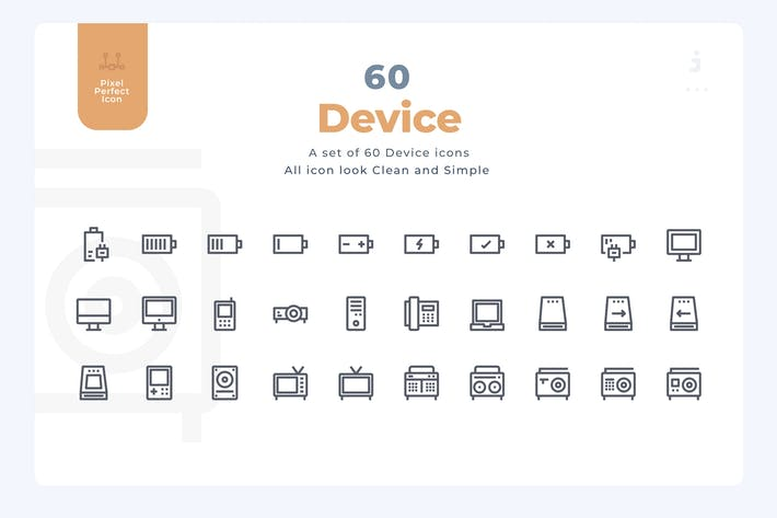 Thumbnail for 60 Device Icons - Material Icon