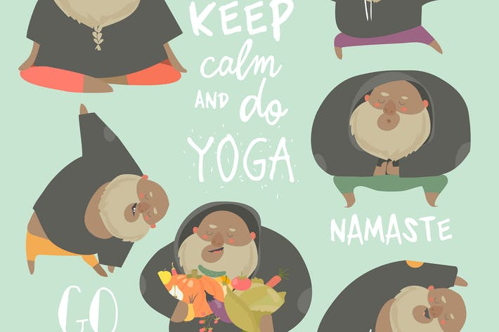 Thumbnail for Funny chubby man doing yoga. Healthy lifestyle.