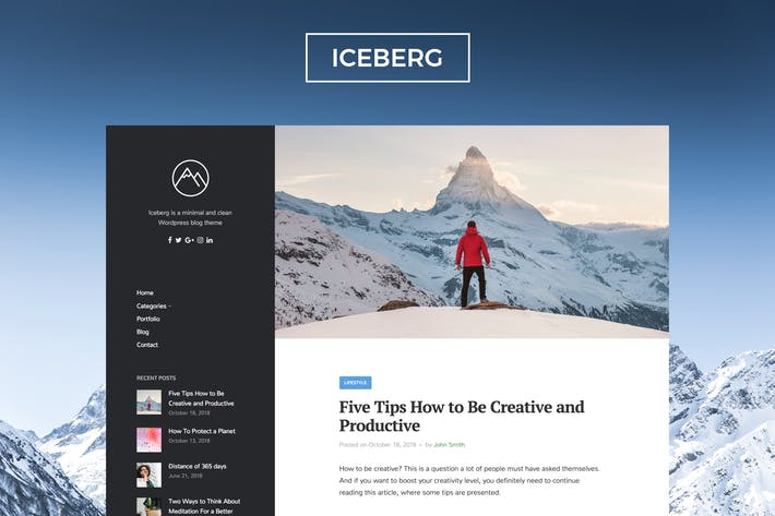Thumbnail for Iceberg - Clean & Modern WordPress Blog Thema