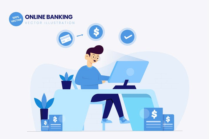 Cover Image For Online Banking Flat Vector Illustration