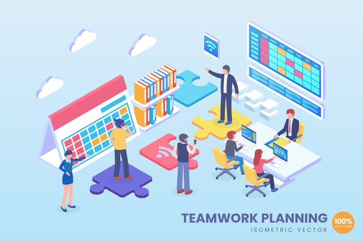 Thumbnail for Isometric Teamwork Planning Vector Concept
