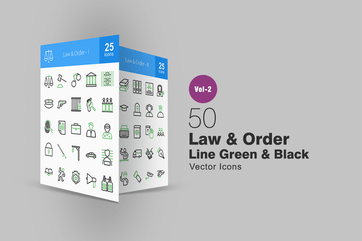 Thumbnail for 50 Law & Order Line Green & Black Icons