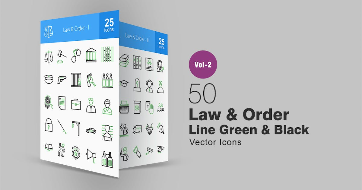 Download 50 Law & Order Line Green & Black Icons by IconBunny