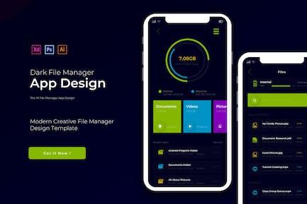 Dark File Manager | App Design Template