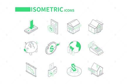 Economic Crisis - Line Isometric Icons