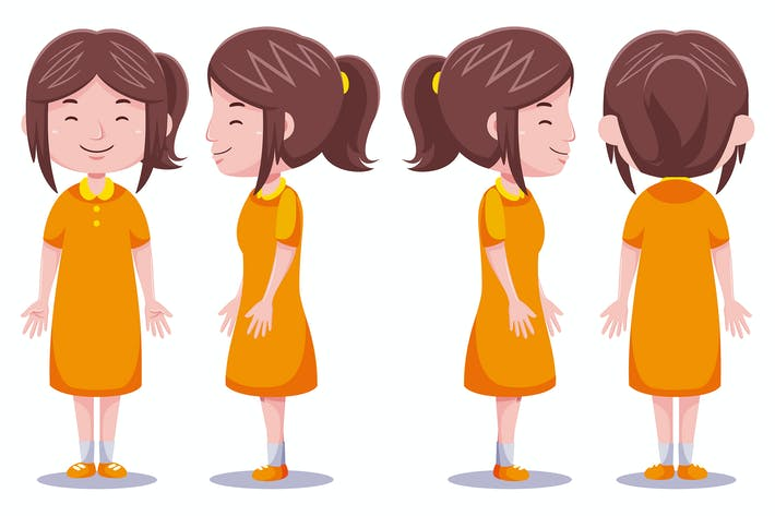 Thumbnail for Cute girl character in different poses #4