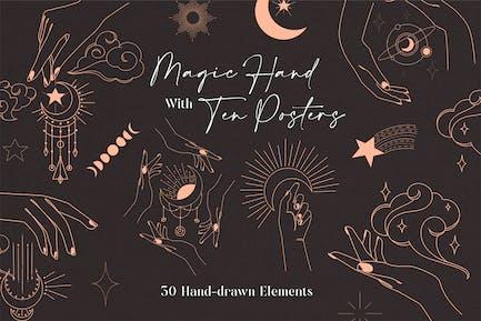 Magic Hand Line Art