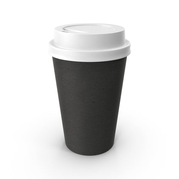 Paper Coffee Cup Black with White Lid