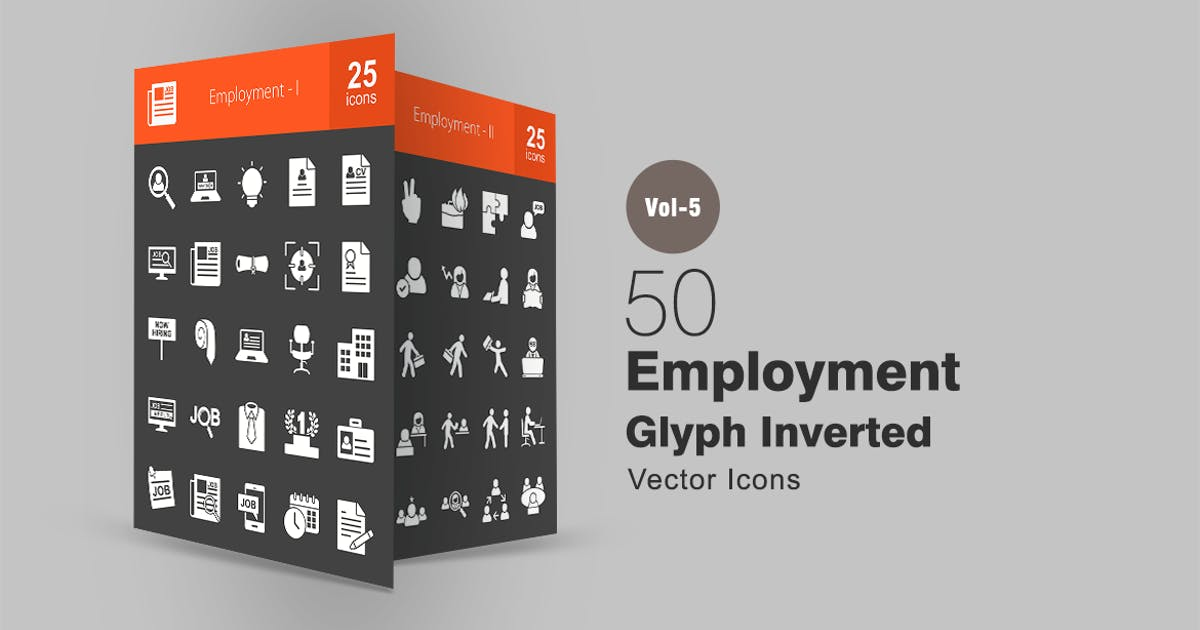 Download 50 Employment Glyph Inverted Icons by IconBunny