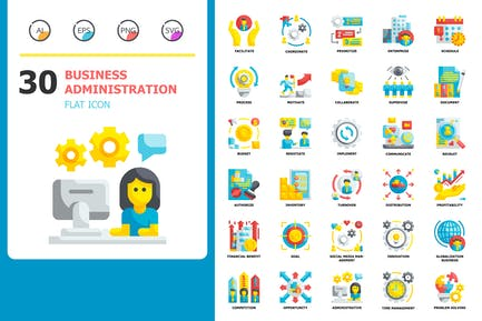 Business administration Flat Icons