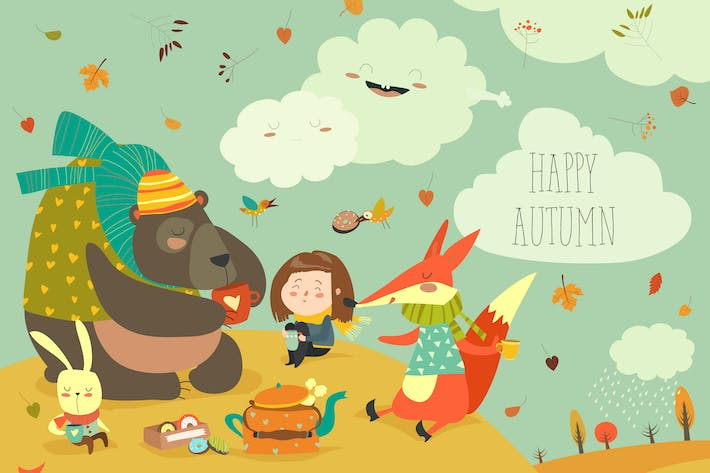 Thumbnail for Girl with animals at picnic in autumn forest.