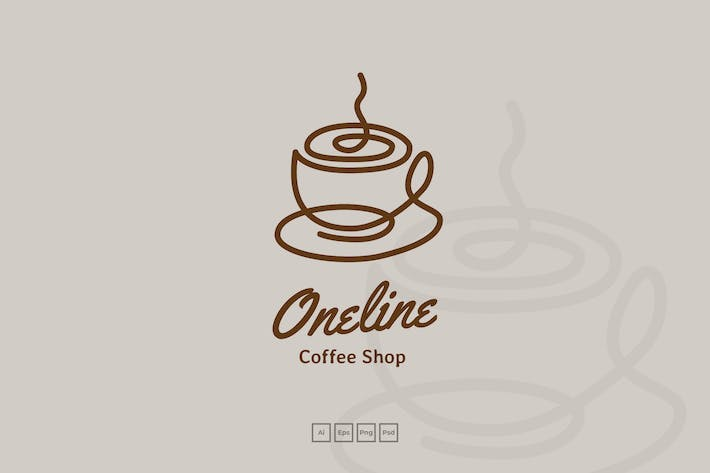 Thumbnail for Continous Line Coffee Shop Logo