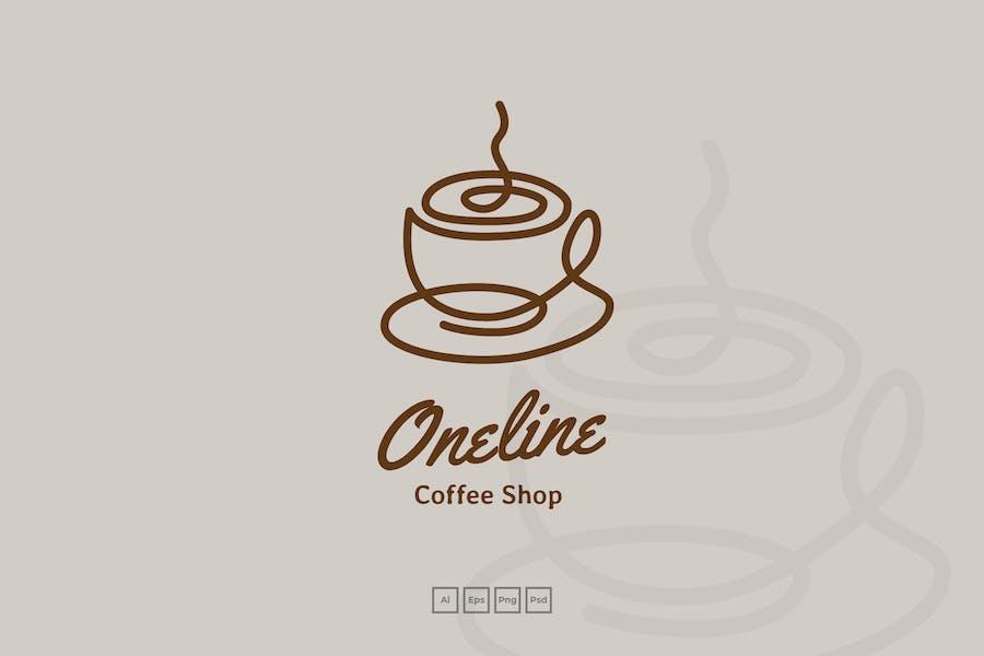 Continous Line Coffee Shop Logo