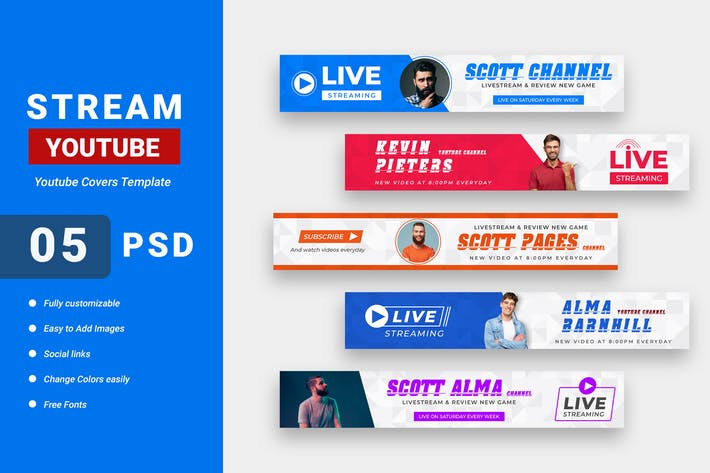 Streamer Channel Youtube Banner Template