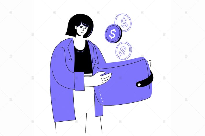 Cover Image For Saving money - flat design style illustration
