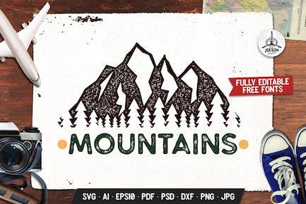 Mountain Adventure Logo, Wild Retro Print Shirt